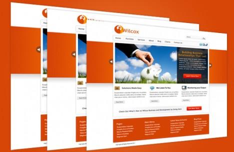 Plantilla naranja para sitio web institucional en Photoshop PSD