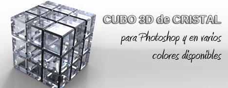 Plantilla con cubo 3D de cristal