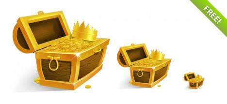 Plantilla de tesoro con monedas de oro y corona de rey para Photoshop