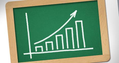 Plantilla con gráfica positiva de éxito